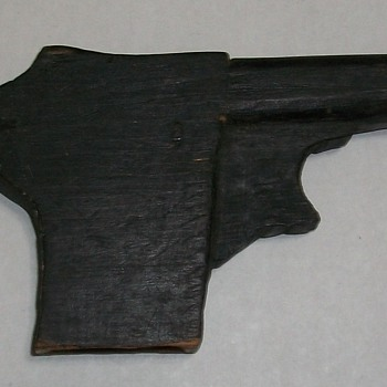 Hand Carved Wooden Toy Gun - Folk Art
