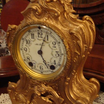 Rare Seth Thomas 1870s Gilded Rococo Mantle Clock - Clocks