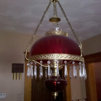 Antique depression glass light fixture?  Possibly?