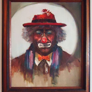 Oil Painting of Emmitt Kelly, World's most famous Tramp clown, by Ilona Rittler