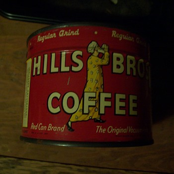UNOPENED  1936  1/2 POUND  HILLS BROS. COFFEE TIN - Advertising
