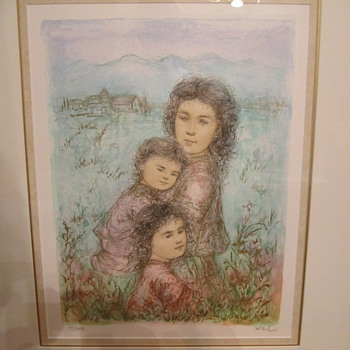 Hibel Ink and Gold Painting.Numbered and Signed by Edna Hibel