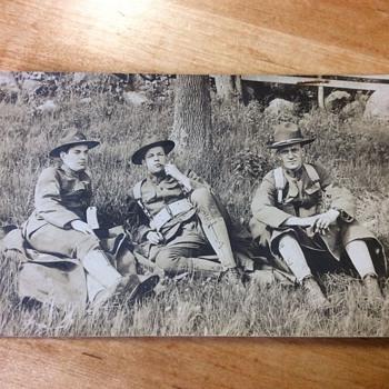 3 SOLDIERS TAKE A BREAK, PEEKSKILL,NY  1908