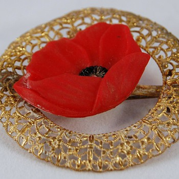 Red Poppy (Resin?) Brooch - Costume Jewelry