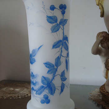 An opaline glass vase enamel decor of bird and blackberries