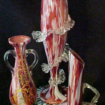 "12"" Ruckl Bloody Red Cased Vase with 1903 Sticker Label.... - Art Glass"
