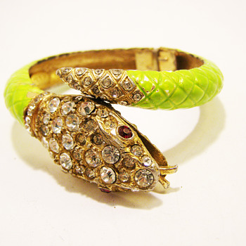 Vintage Kenneth Jay Lane Lime Green Enamel Snake Bracelet - Costume Jewelry