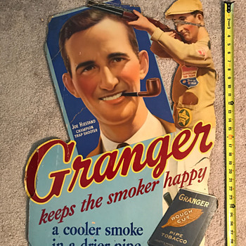 Granger Pipe Tobacco cardboard sign