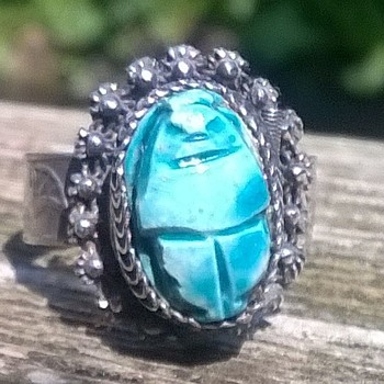 Egyptian Scarab Poison Ring Flea Market Find $3 - Fine Jewelry