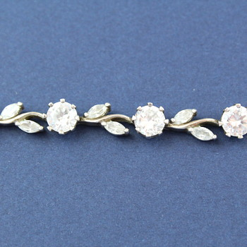 POLISH STERLING SILVER BRACELET WITH PASTE FLOWERS AND LEAVES