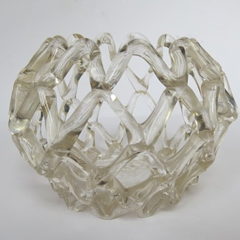 Open Weave Hand Made Glass Bowl - Art Glass