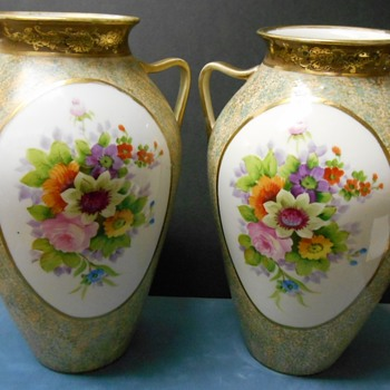 Matched Hand-Painted Japan Vases - Need Info on Mark, Please - Asian