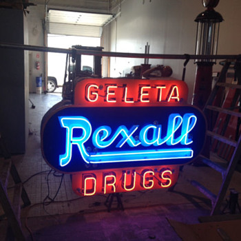 40's double sided rexall porcelain neon sign - Signs