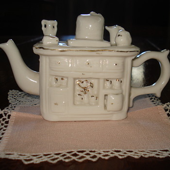 Miniature Wood Stove Porcelain Teapot
