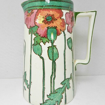 Rare ROYAL DOULTON Art Nouveau Opium Poppy Ware Pitcher - Art Pottery