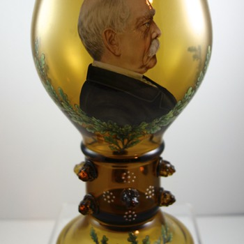 Fritz Heckert Presentation Goblet given to the Mayor of Weehawken, New Jersey, 1918 - Art Glass