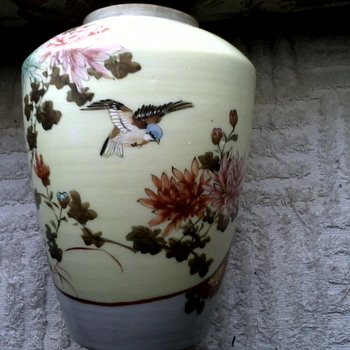 "Meiji Era""32"" Porcelain Jar / Vase Hand Painted Birds and Flowers with Gold Details / Circa  1868-1912"