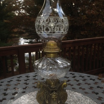 Brass lion oil hurricane lamp - Lamps