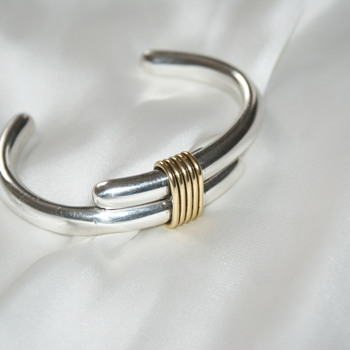Sterling and Brass Bangle Bracelet - Mexico