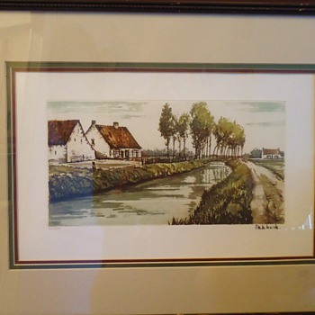 Etching, hand colored and signed by artist,  thrifty store $9.00