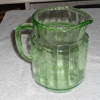 "Green 9"" pitcher maker and pattern unknown - Glassware"