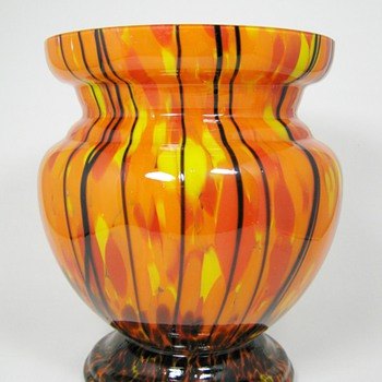 Fantastic Art Deco era Czech Glass Vase ca. 1920's-30's Ruckl Orange Shimmy - Art Glass