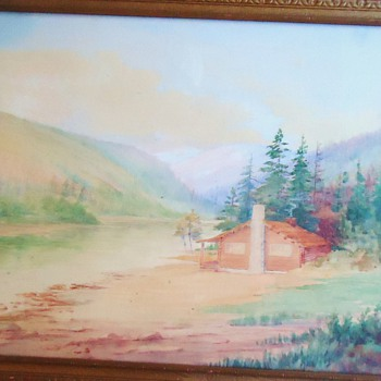 Cabin Watercolor Painting by W. A. Koch  18 inch by 14 inch