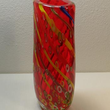 """Murano Tall Red Vase - 12"""" - Art Glass"""