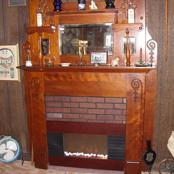 walnut victorian fireplace mantle - Furniture
