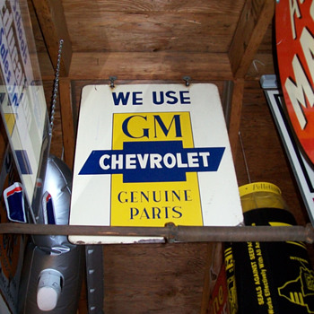 Chevrolet and Delco hanging signs