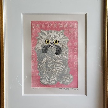 "Motoi Oi Embossed Print ""Angora Kitten"" - Visual Art"