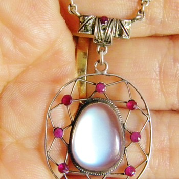 Antique Victorian Ceylon Moonstone Ruby Sterling Necklace Germany - Fine Jewelry