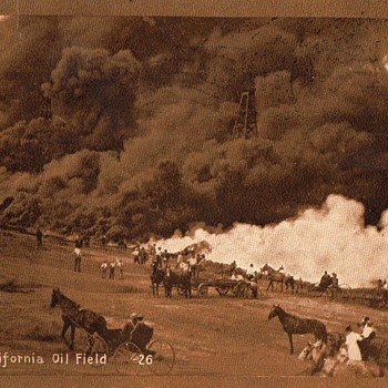 Postcard; Fire in a California Oil Field - Postcards