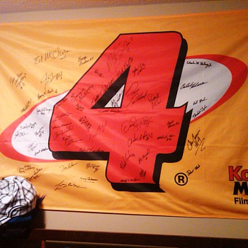 Morgan Mclure #4 Kodak Chevrolet Nascar autographed team Flag - Petroliana