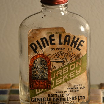 Small Flask of Pine Lake Bourbon Whiskey - Bottles