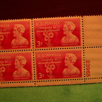 1948 Founder Of The Memorial Poppy Moina Michael 3¢ Stamps - Stamps