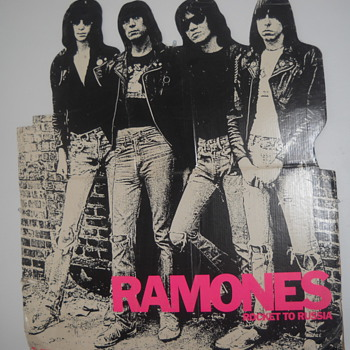Ramones Rocket To Russia 1977 record store cardboard promo  - Music