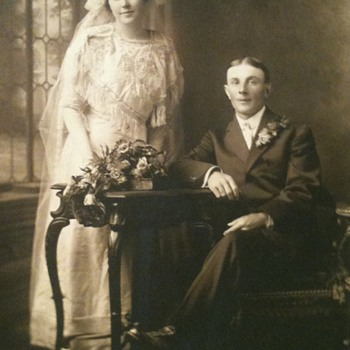 Old Photo of newlyweds  - Photographs