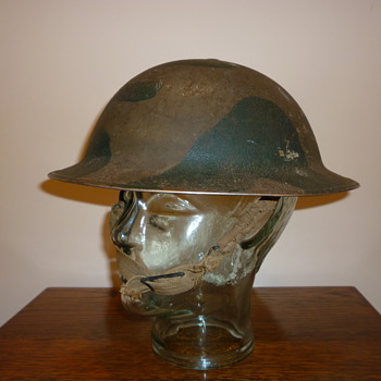 Scarce British WWII cammo steel combat helmet - Military and Wartime