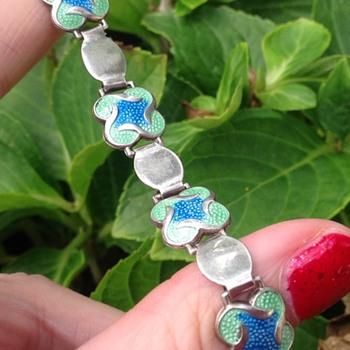 Enamel silver James Fenton? Bracelet. - Art Nouveau