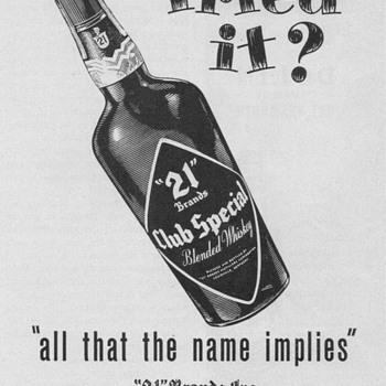 1950 &quot;21&quot; Brands Whiskey Advertisement
