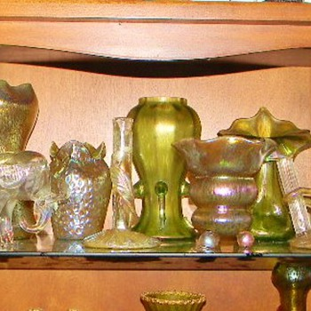Loetz Of All Shapes & Sizes...one of my Favourite Shelves