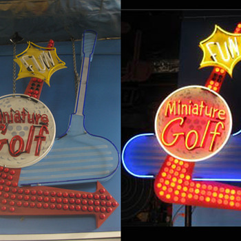 Vintage 1980's MINIATURE GOLF Antique Neon Bulb Lit Sign - Signs