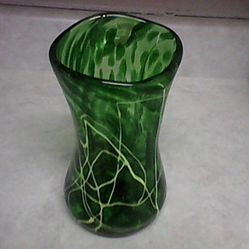 GREEN ART GLASS VASE