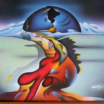 Modern Art Sponge Painting on Canvas,20 Century - Visual Art