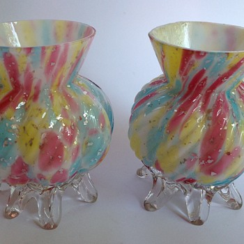 Pair Victorian rainbow spangle glass vases with applied feet