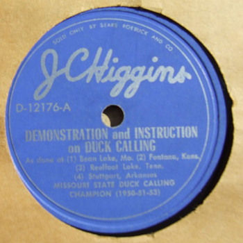 Sears Roebuck  J. C. Higgins Duck, Goose and Crow Calling 78 rpm record