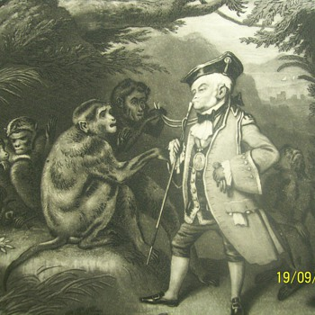 painted by e. landseer  engraved by j sartain the travelled monkey. sign Engraved for the Eclectic magazine. 1827-1872