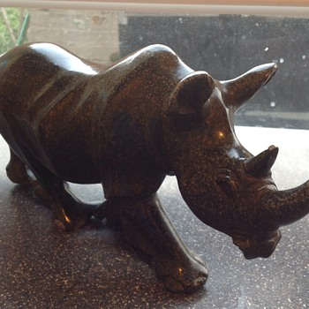 Verdite carved Rhino - Animals