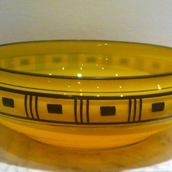 Enamelled tango glass bowl with geometric design